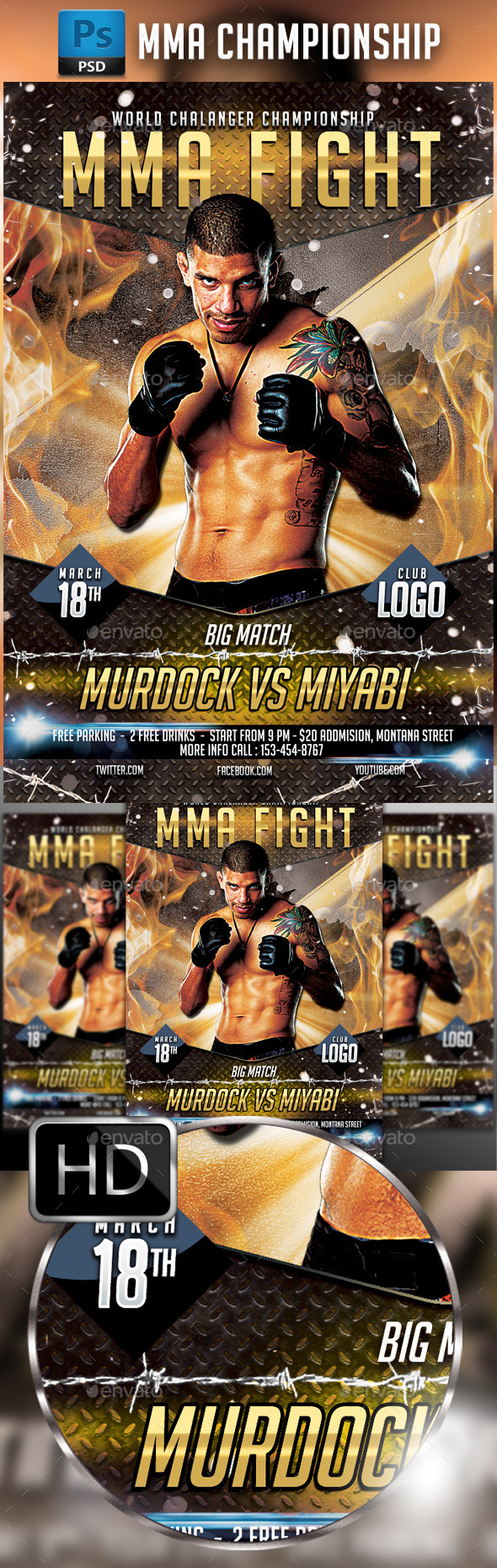 GraphicRiver MMA Fighting Flyer Template #4 10257287