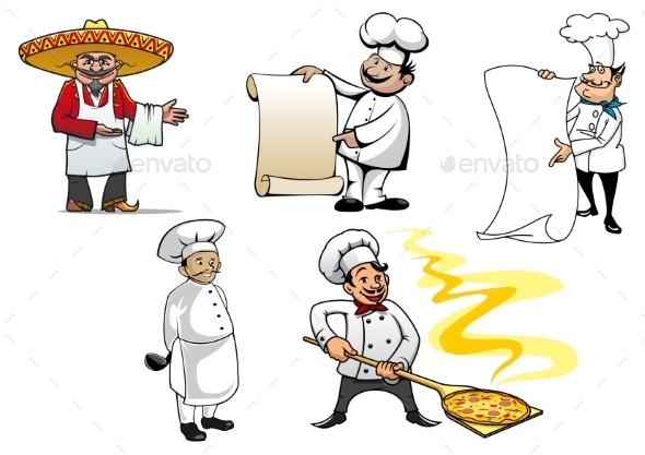 GraphicRiver International Chefs Cartoon Characters 10306993