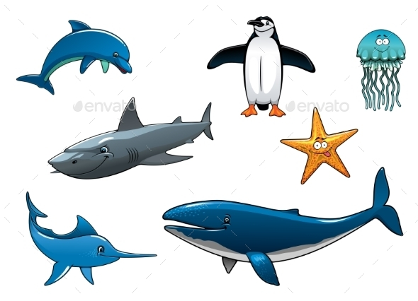 GraphicRiver Marine Wildlife Colored Animal Characters 10307036