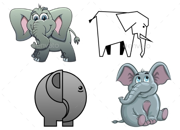 GraphicRiver Cartoon Baby Elephants 10307037