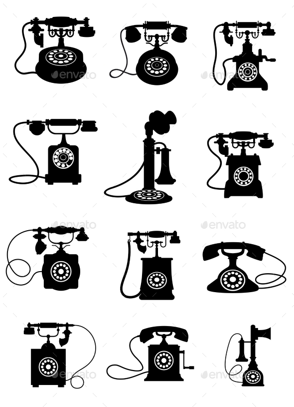 GraphicRiver Silhouette of Vintage Telephones 10307039