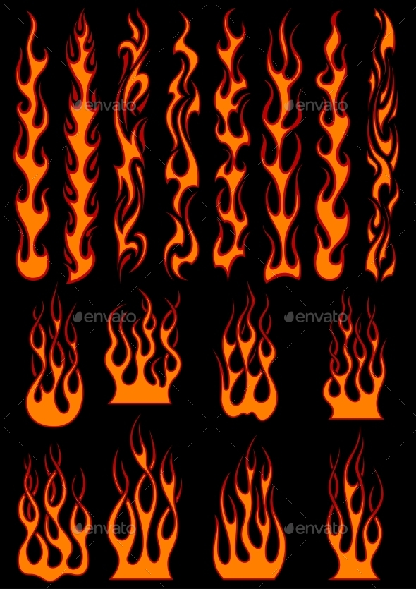 GraphicRiver Various Fiery Flames in Tribal Style 10307041