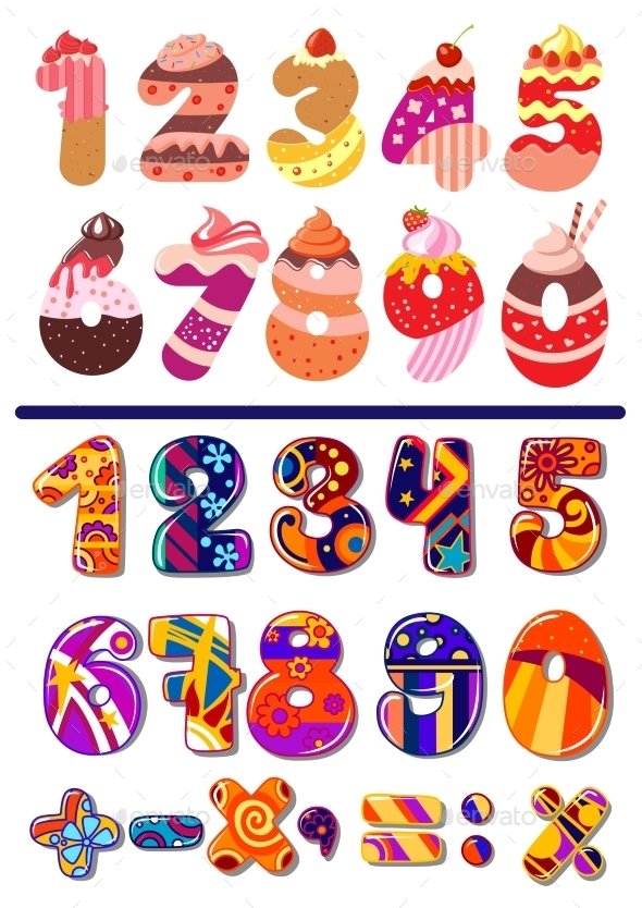 GraphicRiver Colorful Sets of Numbers or Digits 10307051
