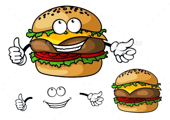 GraphicRiver Cartoon Cheeseburger 10307092