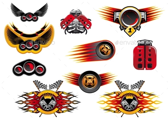 GraphicRiver Colorful Motor Sport and Racing Icons 10307098
