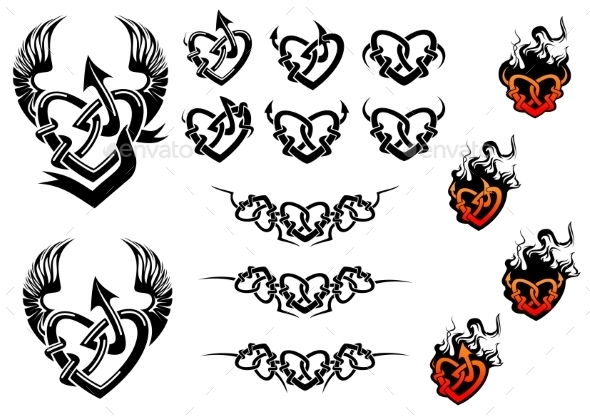 GraphicRiver Entwined Hearts Tattoos with Wings and Flames 10307099