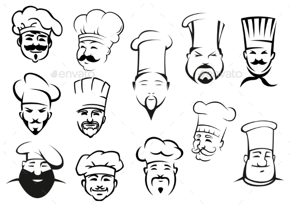 GraphicRiver European American and Asian Chefs in Toques 10307101