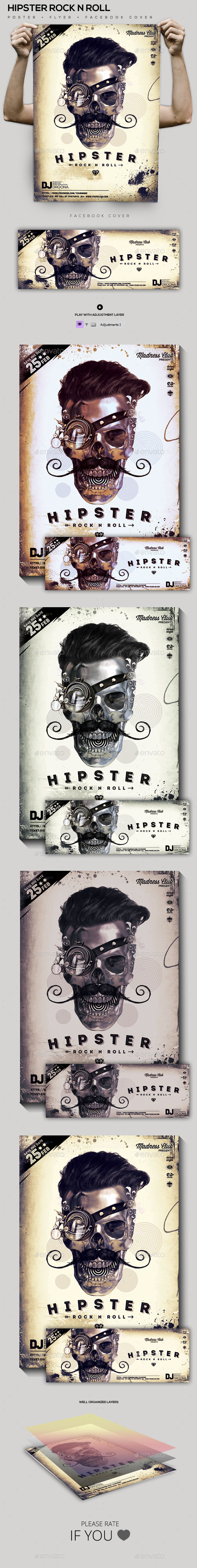 GraphicRiver Hipster Rock N Roll Party Flyer Poster FB Cover 10307120