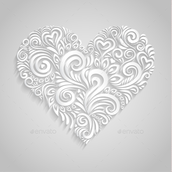 White Paper Floral Heart