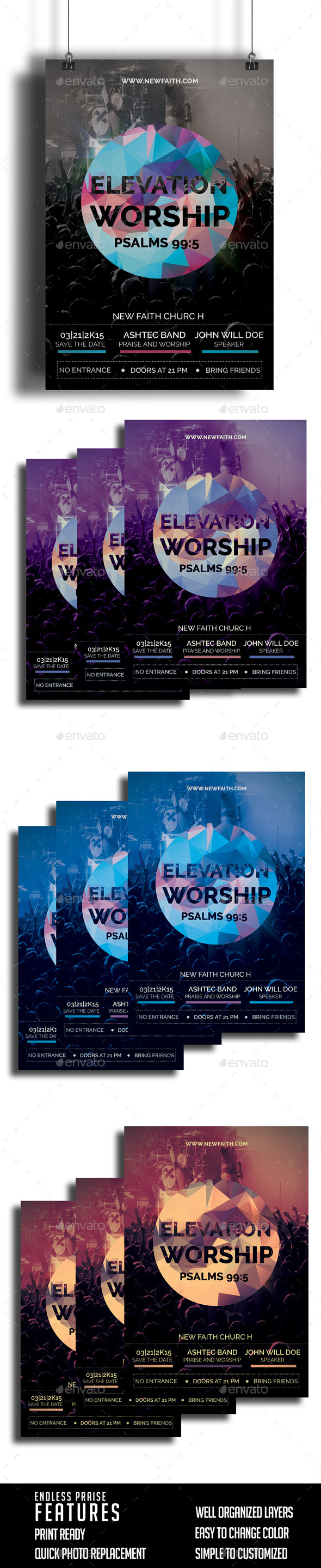GraphicRiver Elevation Worship Church Flyer 10307619