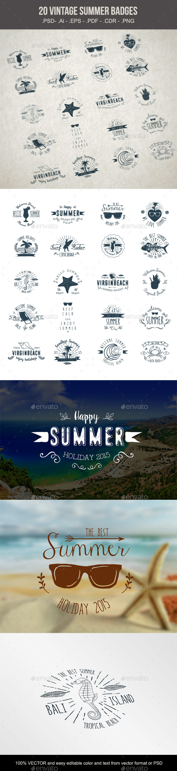 GraphicRiver 20 Summer Badges 10307744