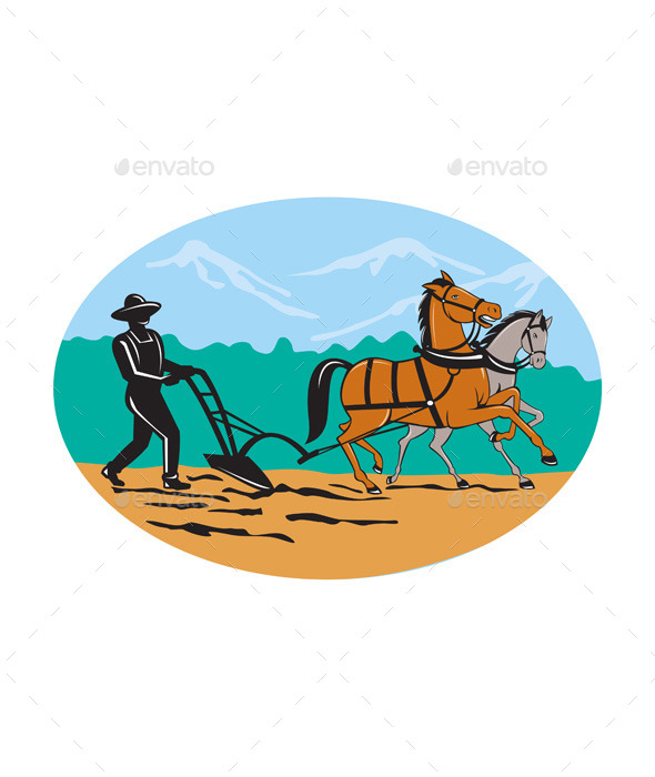 GraphicRiver Farmer and Horses Plowing Field Cartoon 10307746