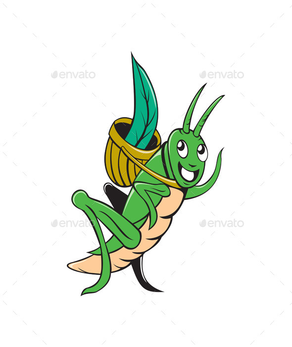 GraphicRiver Grasshopper Carrying Basket Grass Cartoon 10307801
