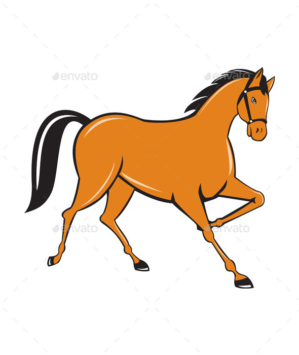GraphicRiver Horse Cantering Side Cartoon 10307882