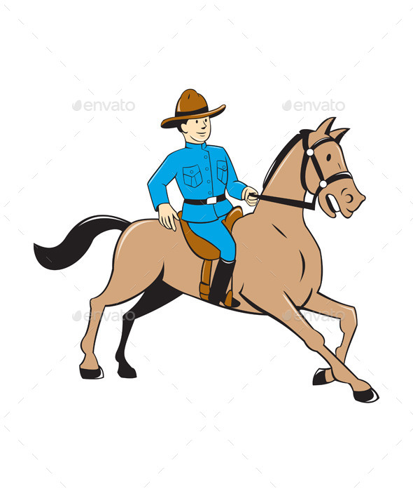 GraphicRiver Mounted Police Officer Riding Horse Cartoon 10308025