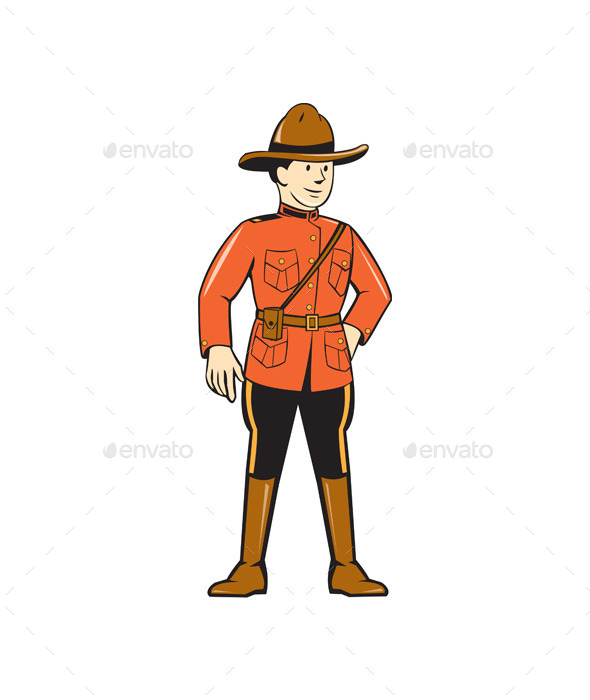 GraphicRiver Mounted Police Officer Standing Front 10308027
