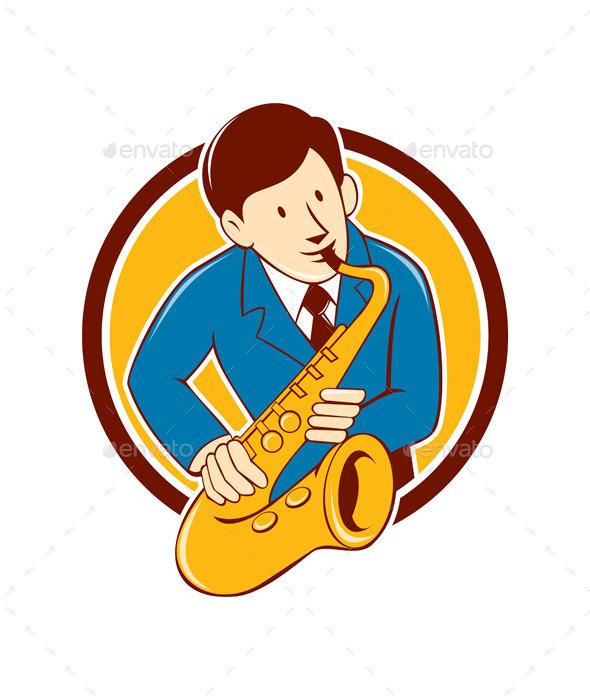 Musician Playing Saxophone Circle Cartoon