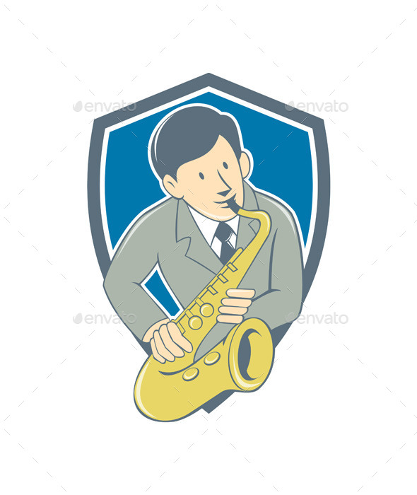 GraphicRiver Musician Playing Saxophone Shield Cartoon 10308055