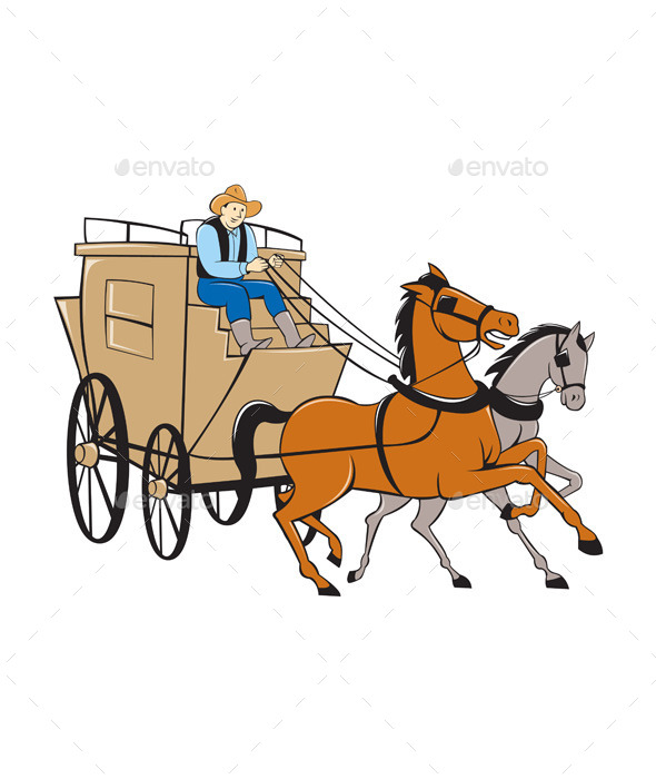 GraphicRiver Stagecoach Driver Horse Cartoon 10308076