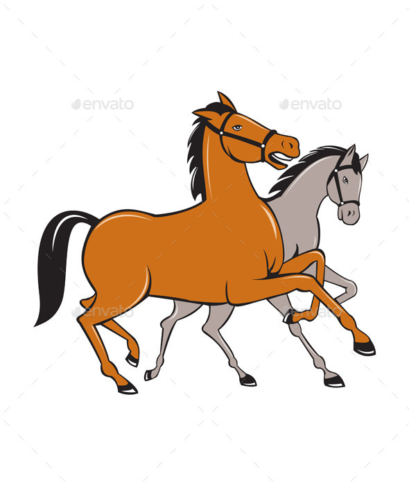 GraphicRiver Two Horses Prancing Side Cartoon 10308077