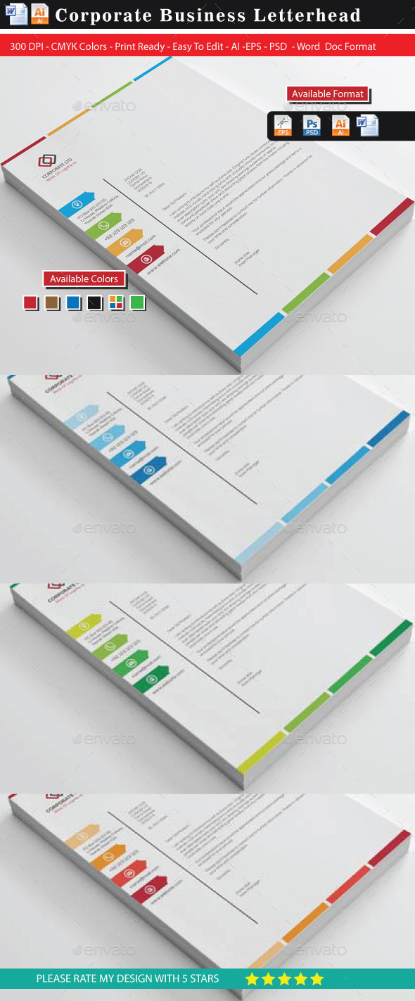 Colourful Business Letterheads Updated