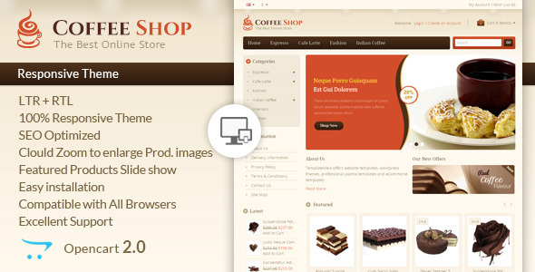 Coffee Shop - Opencart Responsive Template - OpenCart eCommerce
