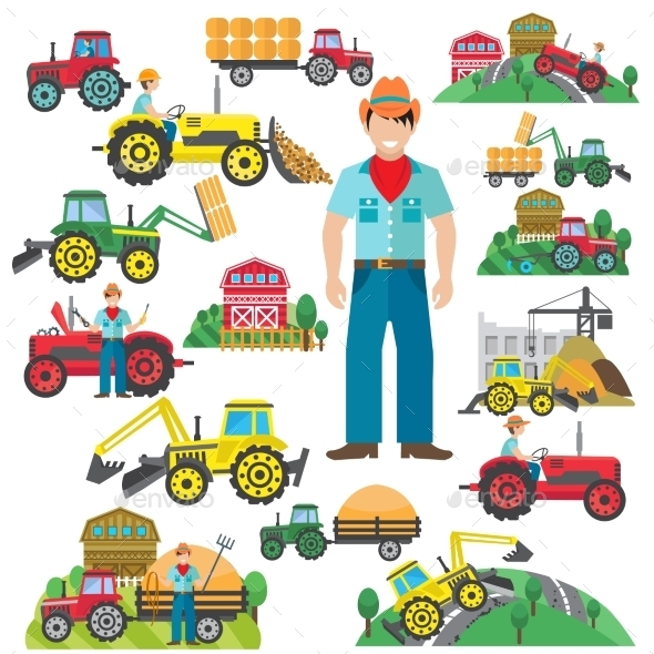 GraphicRiver Tractor Driver Icons Set Flat 10310071