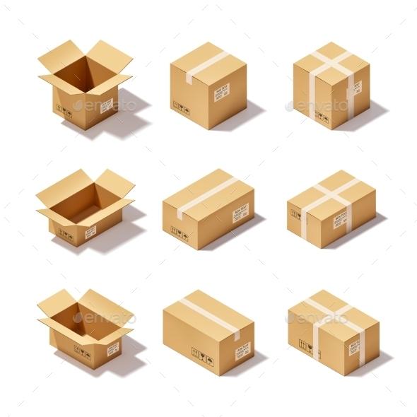 GraphicRiver Cardboard Box Set 10310077