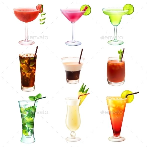 GraphicRiver Cocktail Realistic Set 10310339