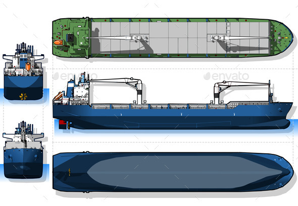 GraphicRiver Orthogonal Blue Print of a Cargo Ship 10310357