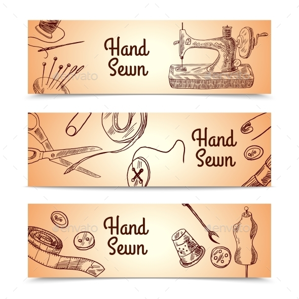 GraphicRiver Sewing Banners Set 10310375