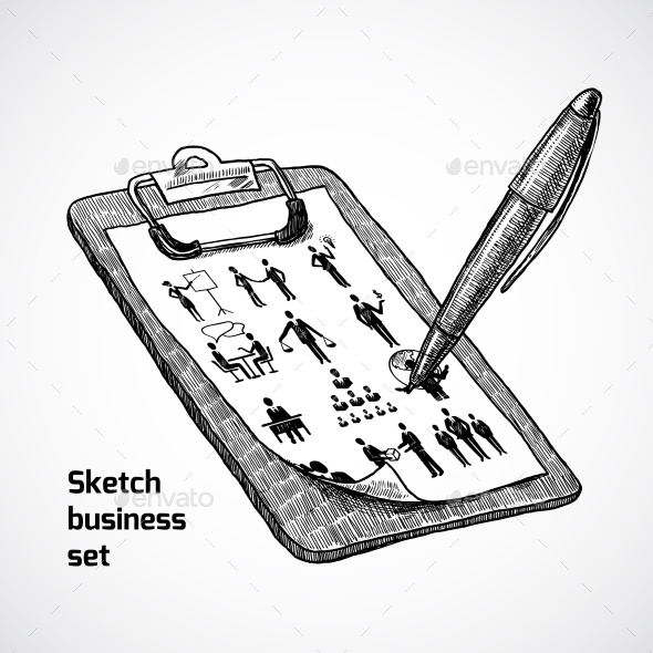 GraphicRiver Clipboard with Business Sketch 10310376