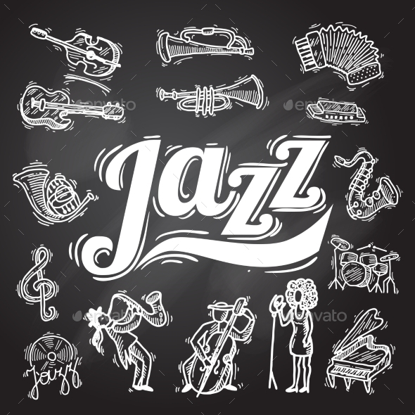 GraphicRiver Jazz Chalkboard Set 10310378