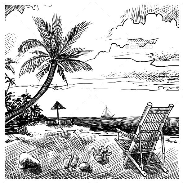 GraphicRiver Summer Beach Sketch 10310394