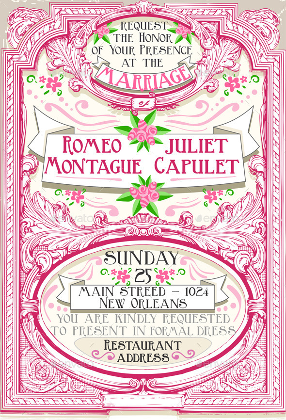 GraphicRiver Pink Floral Vintage Wedding Invite 10310405