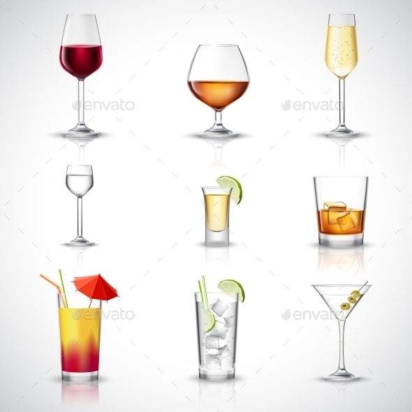 GraphicRiver Alcohol Realistic Set 10310439