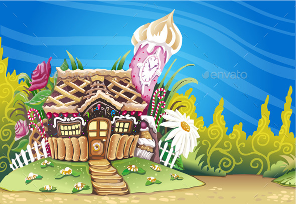GraphicRiver Fantasy Marzipan Sweets House Background 10310466