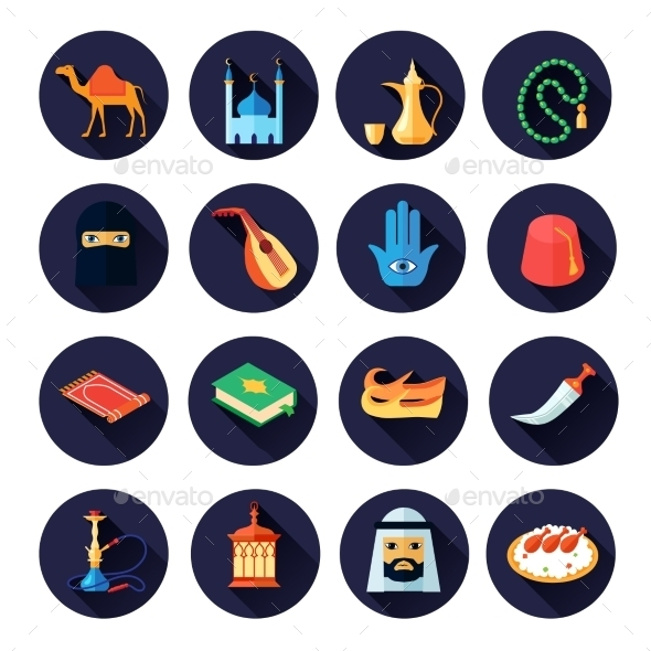 GraphicRiver Arabic Culture Icon Flat 10310477