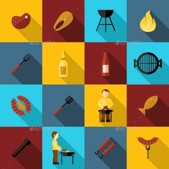 GraphicRiver BBQ Grill Icon Flat 10310485