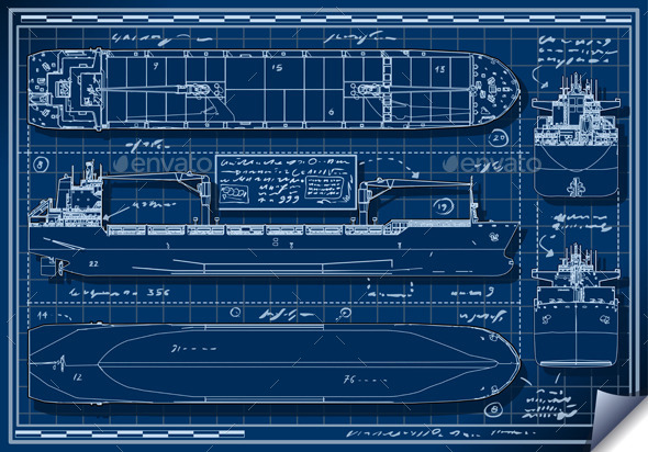 GraphicRiver Blue Print of a Cargo Ship 10310516
