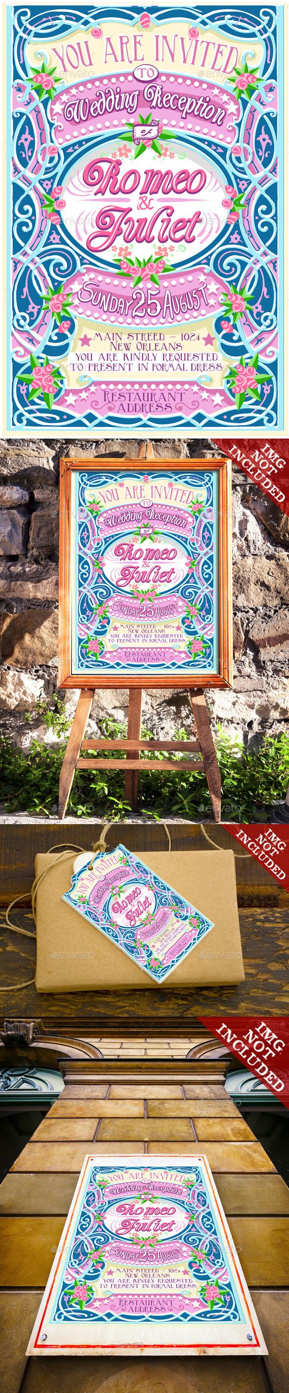 GraphicRiver Floral Vintage Wedding Invite 10310639