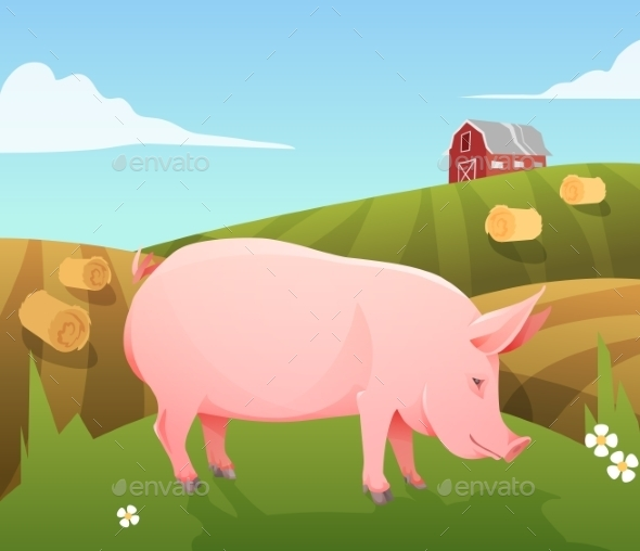 GraphicRiver Pig on Farm 10310689