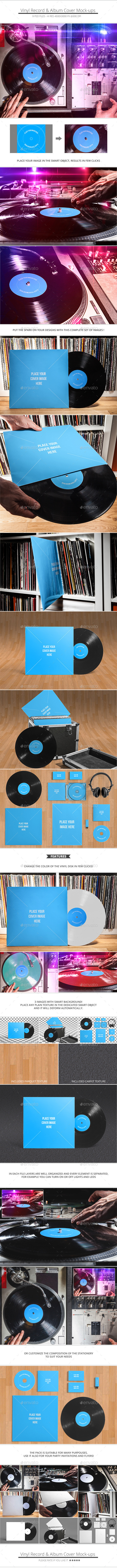 GraphicRiver Vinyl Record & Album Cover Mock-ups Party Pack 10310707