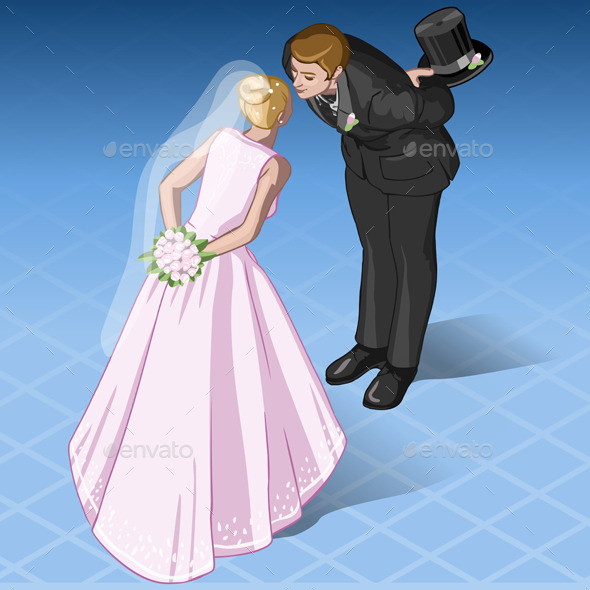 GraphicRiver Isometric Kissing Wedding Couple 10310734