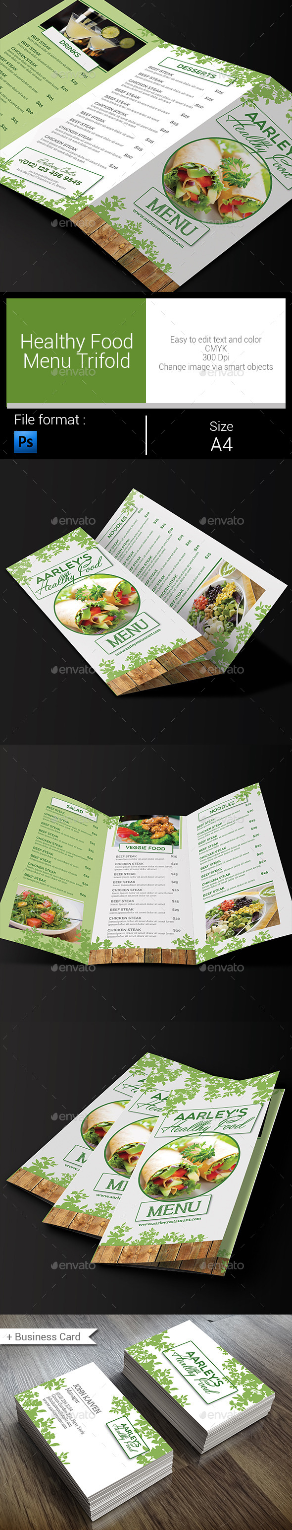 GraphicRiver Healthy Food Menu Trifold 10311054