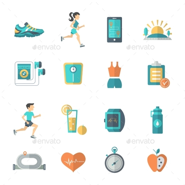 GraphicRiver Jogging Icons Flat 10311117