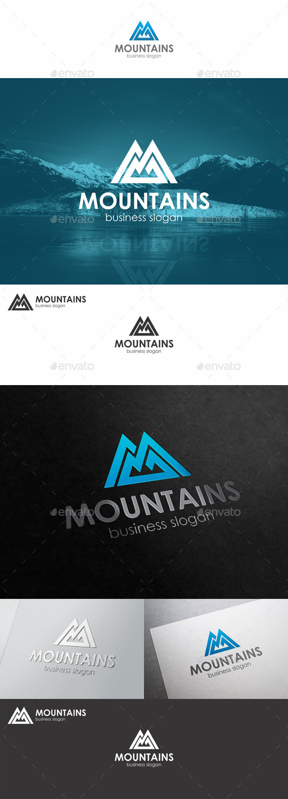 GraphicRiver Mountains Logo Monogram M Letter 10311209