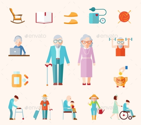 GraphicRiver Senior Lifestyle Flat Icons 10311223