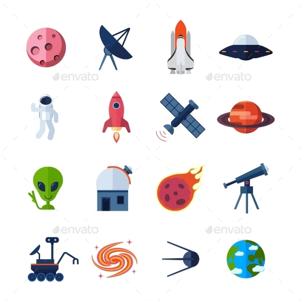 GraphicRiver Space Icons Flat 10311227