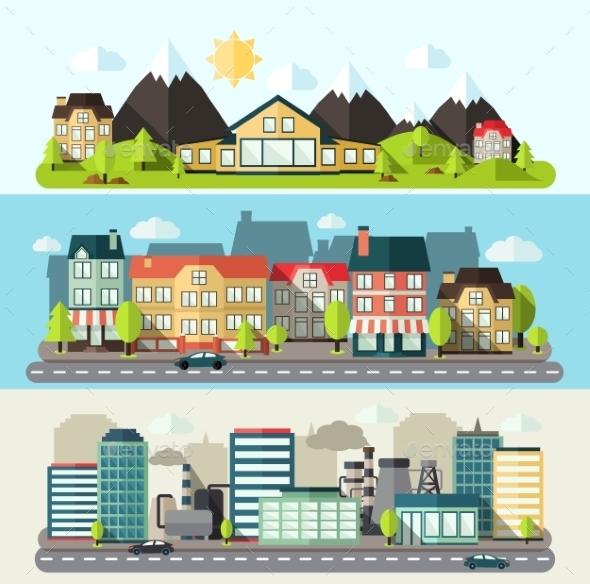 GraphicRiver Landscape City Banner Flat 10311257